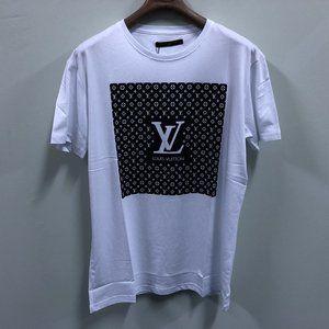 Louis Vuitton Men Chest Black Printed White Tshirt